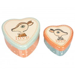 2 Metal Heart Bambi Set -...