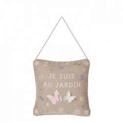 "Embroidered pillow ""je suis..."