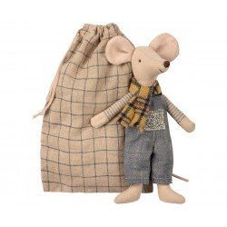 Winter mouse father in bag...